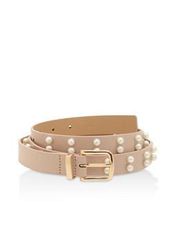 Plus Size Faux Pearl Skinny Belt - 3128074501218
