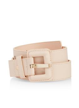 Plus Size Faux Leather Square Buckle Belt - 3128074501500