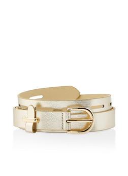 Plus Size Faux Leather Laser Cut Belt - GOLD - 3128074501806