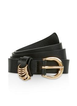 Metallic Loop Detail Faux Leather Belt - 3128074501877