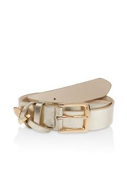 Plus Size Metallic Loop Faux Leather Belt - 3128074501878