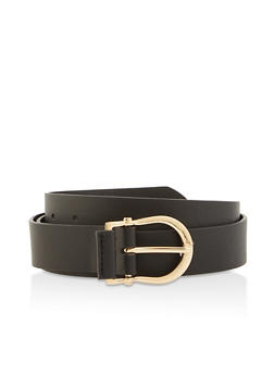 Plus Size Faux Leather Horseshoe Buckle Belt - 3128074501900