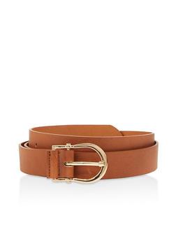 Plus Size Faux Leather Horseshoe Buckle Belt - CAMEL - 3128074501900