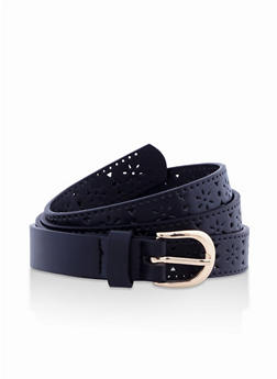 Laser Cut Faux Leather Skinny Belt - 3128074501910