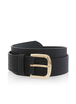 Star Embossed Faux Leather Belt - 3128074502277