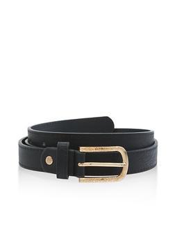 Metallic Detail Buckle Skinny Belt - 3128074503470