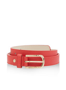 Metallic Detail Buckle Skinny Belt - 3128074503470