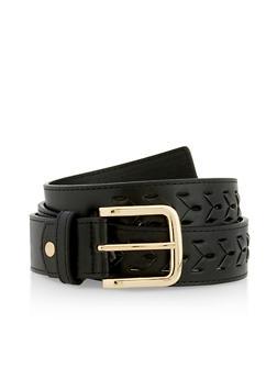 Plus Size Woven Faux Leather Belt - 3128074504000