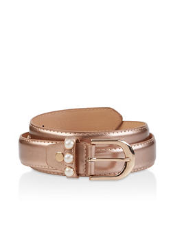 Faux Pearl Detail Belt - 3128074504127