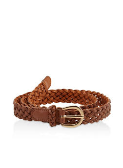 Faux Leather Braided Belt - 3128074505030