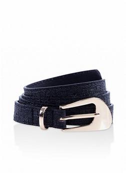 Embossed Faux Leather Skinny Belt - 3128074508031