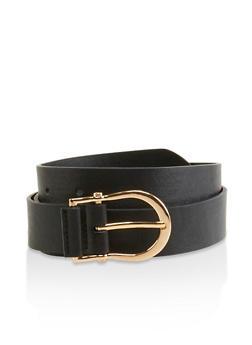 Metallic Buckle Faux Leather Belt - 3128074509000