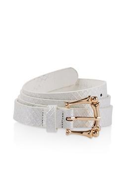 Embossed Glitter Skinny Belt - 3128074509133