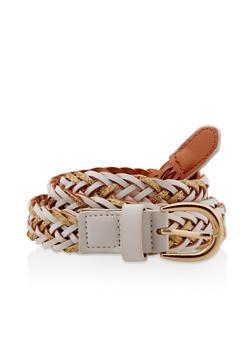Glitter Woven Faux Leather Belt - 3128074509480