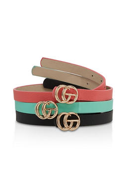 Logo Buckle Faux Leather Belt Trio - 3128075131742
