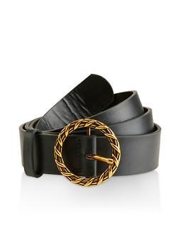 Plus Size Textured Round Buckle Belt - 3128075133210
