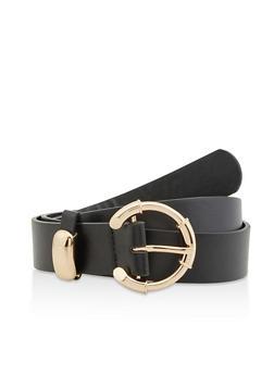Plus Size Faux Leather Open Buckle Belt - 3128075133428