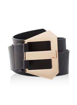 Plus Size Metallic Buckle Waist Belt - 3128075136299