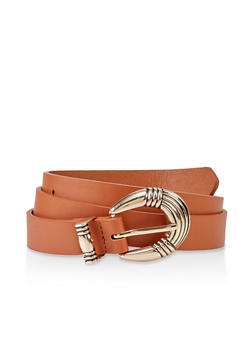Textured Buckle Faux Leather Belt - 3128075470600