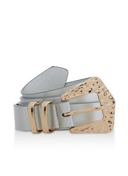 Hammered Metallic Square Buckle Belt - 3128075471020