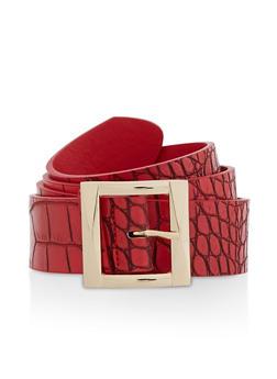 Faux Croc Leather Belt - 3128075471077