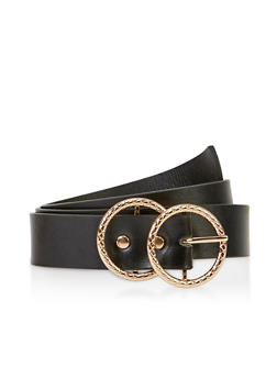 Textured Double Circle Buckle Belt - 3128075471100