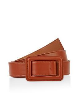 Plus Size Faux Leather Buckle Belt - 3128075471119