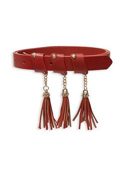Faux Leather Tassel Belt - 3128075471290