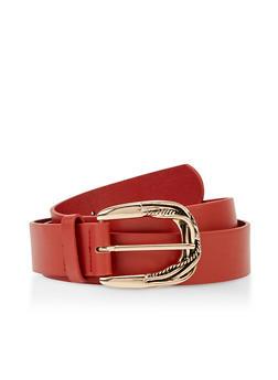 Plus Size Embossed Metallic Buckle Belt - 3128075471411