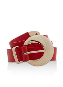 Crescent Buckle Faux Leather Belt - 3128075471420