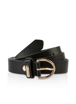 D Ring Buckle Faux Leather Belt - 3128075471470