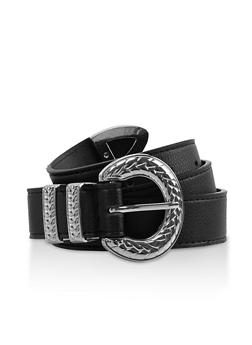 Textured Metallic Buckle Belt - 3128075471706