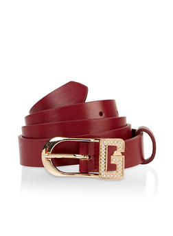 Rhinestone G Buckle Skinny Faux Leather Belt - 3128075472080