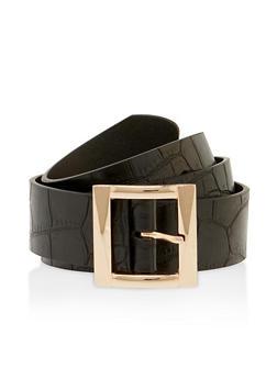 Plus Size Faux Croc Square Buckle Belt - 3128075477107