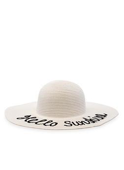 Hello Sunshine Floppy Straw Sun Hat - White - 3129067446644