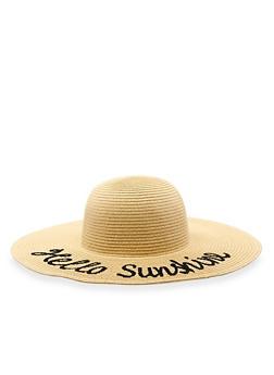 Hello Sunshine Floppy Straw Sun Hat - 3129067446644