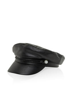 Faux Pearl Braided Newsboy Cap - BLACK PU - 3129067448010