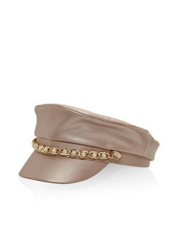 Faux Pearl Chain Link Newsboy Cap - ROSE - 3129067448013
