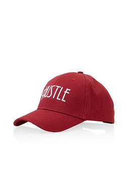Hustle Graphic Embroidered Baseball Cap - WINE - 3129067448017