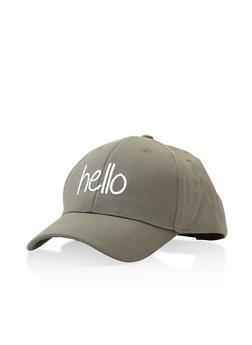 Hello Graphic Embroidered Baseball Cap - 3129067448019