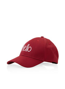 Hello Graphic Embroidered Baseball Cap - WINE - 3129067448019