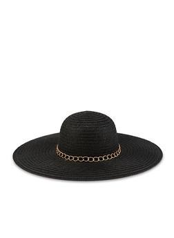 864cd20d70711 Chain Detail Floppy Straw Sun Hat - 3129067449002