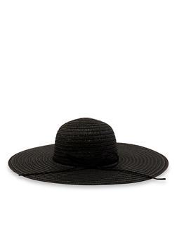 Bow Detail Floppy Straw Sun Hat - 3129067449003