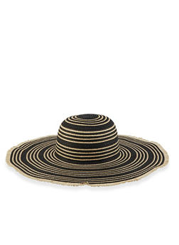 Lurex Floppy Straw Sun Hat - Black - 3129067449005