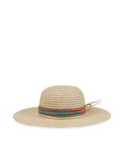 Striped Band Floppy Straw Sun Hat - Beige - 3129067449007