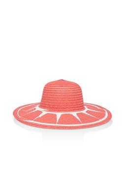 Two Tone Floppy Straw Sun Hat - Pink - 3129074391292