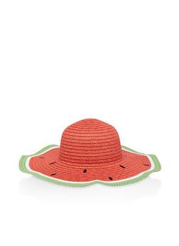 Watermelon Floppy Straw Sun Hat - 3129074391297