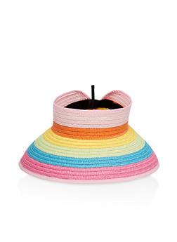 Striped Floppy Straw Visor - 3129074392924