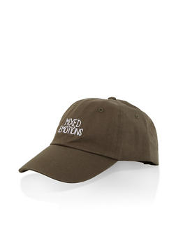 Mixed Emotions Graphic Baseball Cap - OLIVE - 3129074506048