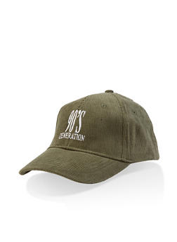 Graphic Corduroy Baseball Hat - OLIVE - 3129074507051